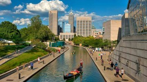 The Indy skyline is a perfect backdrop to the Gondola and pedal boats on the Canal