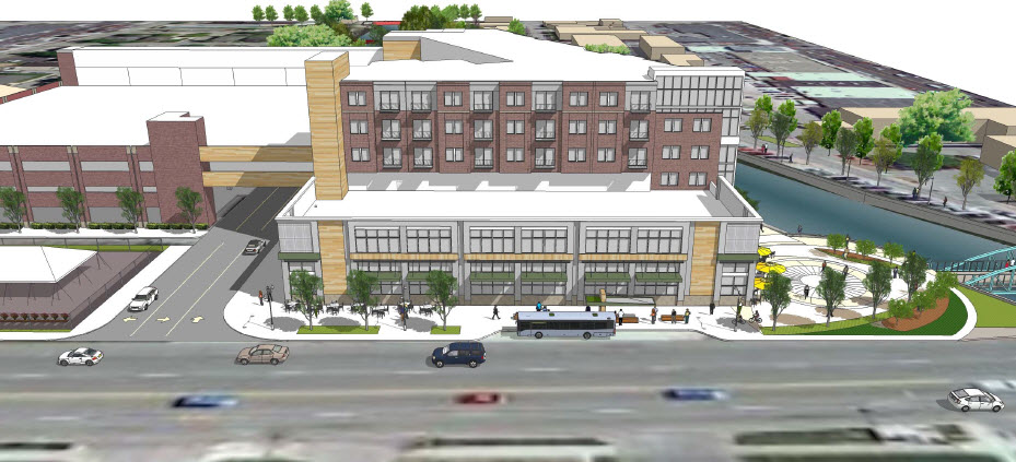 A rendering of Whole Foods architectural design in Broad Ripple