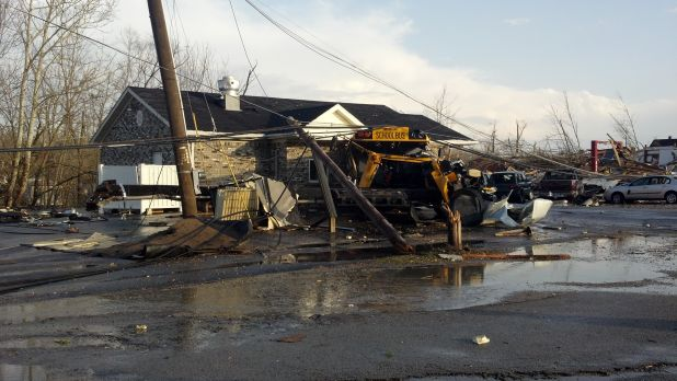 Photo of storm damage in Henryville Indiana in 2012