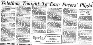 pacers telethon newspaper header