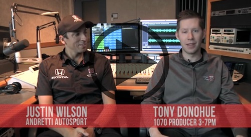 Justin Wilson in studio with 1070 THE FAN's Tony Donohue, May 2015