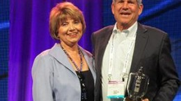 Radio Ink Publisher Deborah Parenti with Emmis Chairman/CEO Jeff Smulyan, the 2016 Radio Wayne winner for America's Best Broadcaster