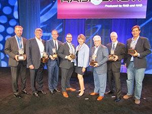 The 2016 Radio Wayne Award Winners. Emmis CEO Jeff Smulyan is second from the left.