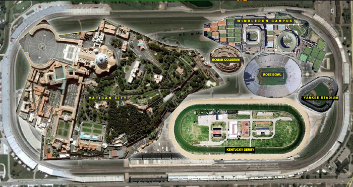 Vatican City, Wimbledon Campus, Roman Coliseum, Rose Bowl, Yankee Stadium, and the Kentucky Derby Track will all fit inside the Indianapolis Motor Speedway.