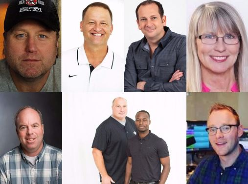 Listeners feel a connection to local personalities. (Clockwise: JMV-WFNI, Dan Dakich-WFNI, Dave Smiley-WZPL, Kristi Lee-WFBQ, Sean Copeland-WYXB, Michael Grady-WFNI, Joe Staysniak-WFNI, Pat Sullivan-WIBC )