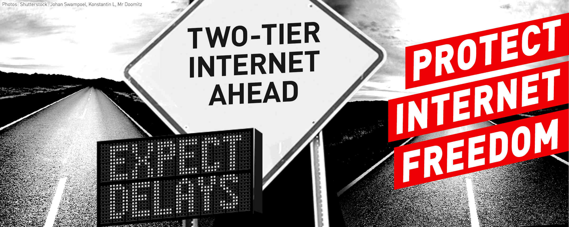 two tier internet ahead road signs