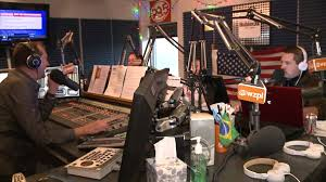 """""""The Smiley Morning Show"""" in studio at WZPL, Indianapolis."""