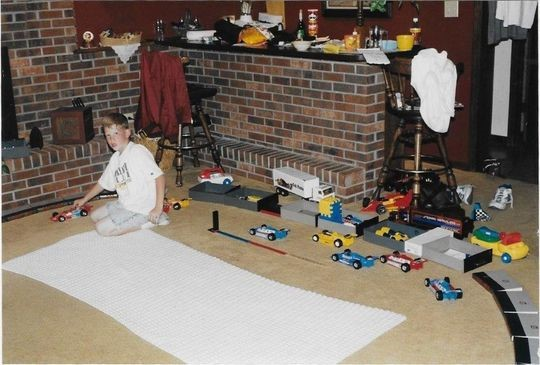 A young Matt Taylor created his own version of the Indy 500 in his home, then proceeded to introduce the starting lineup and call the action. (Photo: Provided by Taylor family)